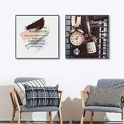 paglutaw Vintage Moda Lienzo Pintura Retro Reloj Plantas Cotizaciones De La Vida...