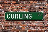VGSH - Señal de Curling para Abanico Rizado, Regalo de Piedra Deslizante sobre Hielo para el Objetivo de Curling Lover, señal de Calle Personalizada de 4x16 Pulgadas