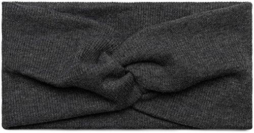 styleBREAKER Damen Haarband in Feinripp Optik mit Schleife, Twist Knoten, Stirnband, Headband 04026009, Farbe:Dunkelgrau
