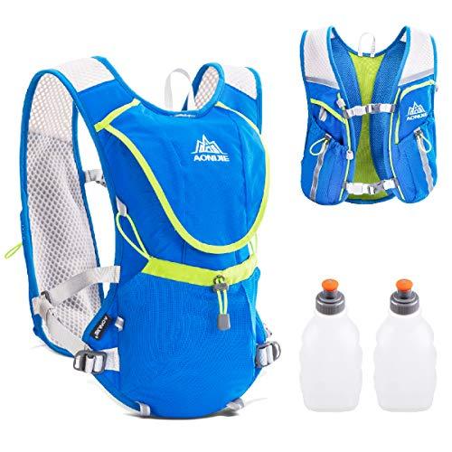 TRIWONDER Trinkrucksack-Rucksack-Fachmann 8L draußen Mochilas-Pfad-Marathonläufer-laufende Rennen-Radfahrenhydratations-Weste (Blau - mit 2 Wasserflaschen)
