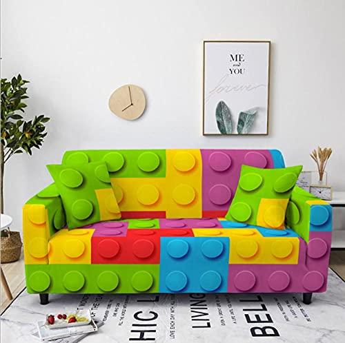 Celosía de Bloques de Colores Funda de sofá de 2 Plazas Funda Elástica para Sofá Poliéster Suave Sofá Funda sofá Antideslizante Protector Cubierta de Muebles Elástica