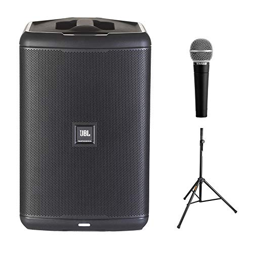 JBL EON ONE Compact All-In-One Rechargeable Personal PA Bundle with Vocal Microphone & Speaker Stand