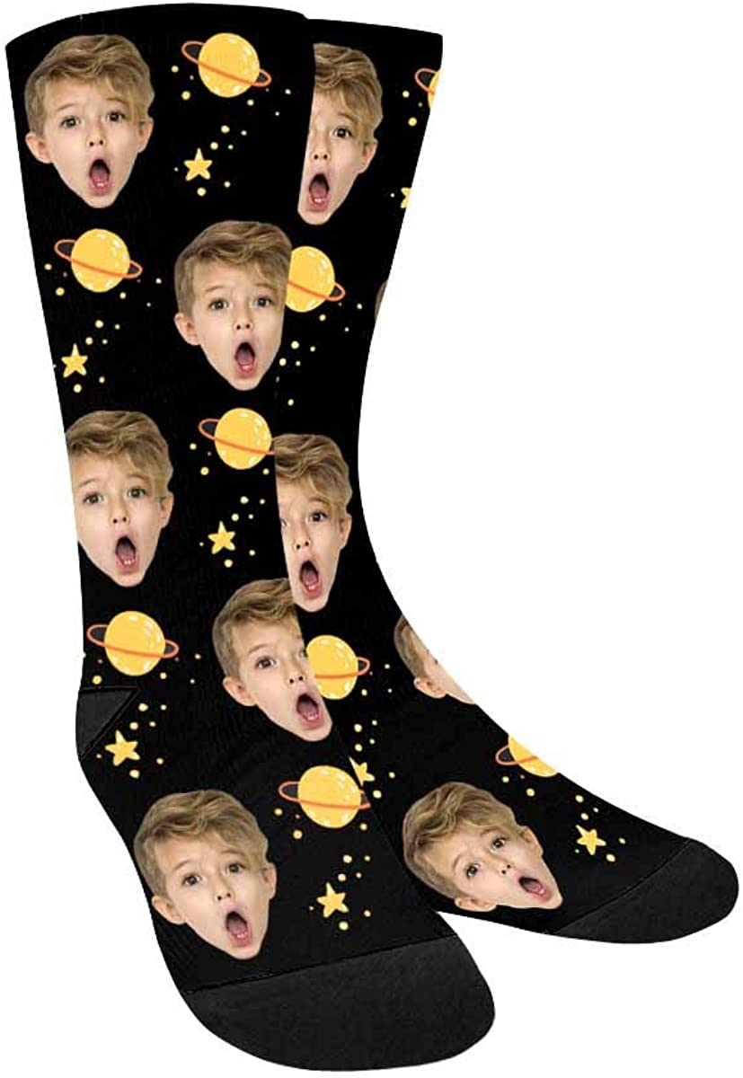 Personalized Photo Printed Crew Socks Yellow Planets and Stars P