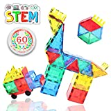 Mgc-Kitty Magnetic Building Blocks Tiles Stem Educational Toys 3D Puzzle Castle Construction Set with Strong Magnets for Kids Toddlers Boys Girls Pack of 60