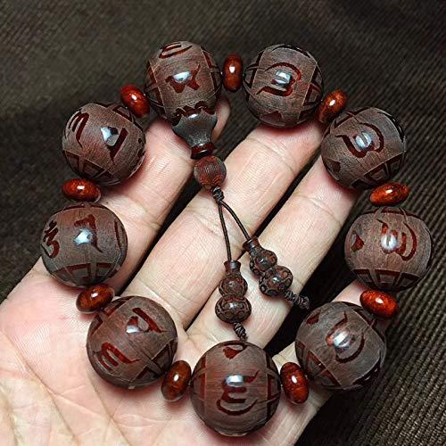 Afrikaanse kleine blad eucalyptus bloed sandelhout hout zes-woord waarheid bijpassende model gesneden kraal DIY handsnaar mannelijke Boeddha kraal houten armband 2.0 x 9
