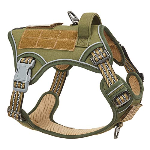 BUMBIN Tactical Dog Harness for Large Medium Small Dogs, Famous TIK Tok Dog Harness, Fit Smart Reflective Pet Walking Harness for Training, Adjustable No Pull Dog Vest Harness with Handle Green M