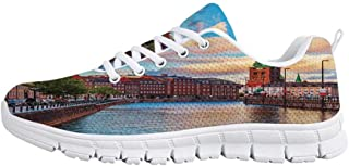 Cityscape Jogging Running ShoesScenic Old Town Tallinn Estonia Ancient European Cathedral Architecture Home Decor Sneakers for Girls Womens,US 5