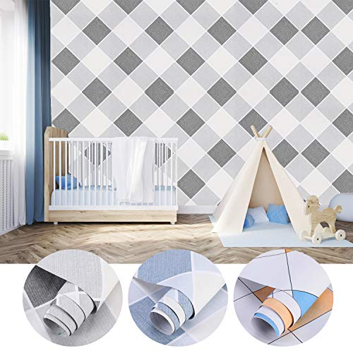 Klebefolie Tapete Kariert-Muster Möbelfolie selbstklebend 0,61x5M Küche Folie Wasserfest PVC Folie Dekofolie für Wohnzimmer Schlafzimmer Büro Raute-B