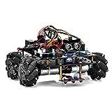 OSOYOO ロボットカー Arduino適用 スマートロボット 4WD 80mm メカナムホイール DC12V モーター 全年齢向け 遠隔操作 STEM 教育おもちゃ 360°全方向移動 Omni directional (カーシャーシ+ Arduino用電子部品キット)