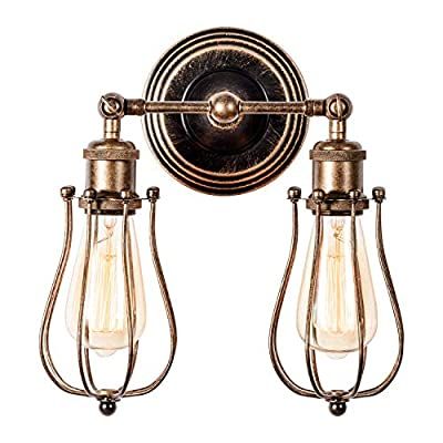 Rustic Wall Lights Vintage Adjustable Cage Wall Sconces Industrial Oil Rubbed Bronze 2-Light, Gladfresit Retro Indoor Lighting Fixture with Ceramic Lamp Holder for Bar Cafe Bedroom (Bulb Not Included)