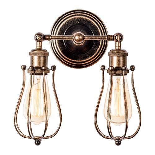Wandlampe Vintage, Verstellbar 2 Licht Metall Wandleuchte Retro Industrial Style Öl Gerieben Bronze Deckenlampe für Schlafzimmer Wohnzimmer Esstisch(Glühbirne Nicht Enthalten)