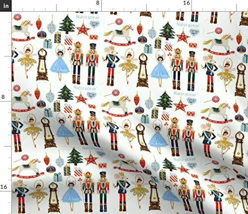 Sterne, Bäume, Weihnachten, Geschenke, Nussknacker, Soldaten, Sterne Stoffe - Individuell Bedruckt von Spoonflower - Design von Floramoon Gedruckt auf Bio Baumwollsatin
