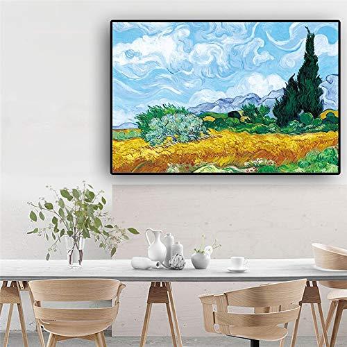 Zypresse Ölgemälde auf Leinwand Poster und Druck auf Wandkunst Bild für Wohnzimmer Küche Dekoration rahmenlose Malerei 70cmX105cm