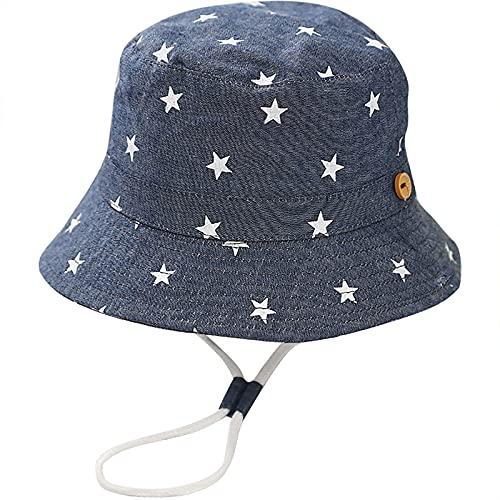 Malaxlx Unisex Kinder Sonnenhut Sterne Denim Grau Fischerhut Sommerhut für 4-8 Jahre Mädchen Jungen