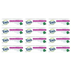 WHAT YOU'LL GET: Twelve 1-ounce tubes of Tom's of Maine Natural Fluoride-Free Antiplaque & Whitening Toothpaste in Peppermint Flavor FLUORIDE-FREE TOOTHPASTE: Fight tartar buildup with antiplaque formula TRAVEL SIZE: Helps remove surface stains for a...