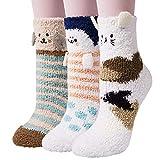 3 Pairs Womens Fuzzy Socks Winter Warm Fluffy Soft Slipper Home Sleeping Cute Animal Socks