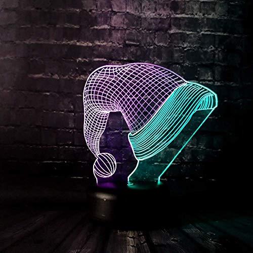 Nachtlampje 3d illusion LED lampen kerstmuts 7 kleurverandering touch art sculptuur lichten met USB-kabel voor kinderen verjaardagsgeschenken kamer huis LED lamp baby kinderdagverblijf nachtlampje