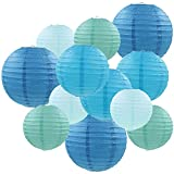 """Famolay Blue Paper Lanterns 12 Pcs Assorted Size of 6"""" 8"""" 10"""" 12"""" Chinese Round Paper Hanging Decorations Ball Lanterns Lamps for Home Decorations, Parties, and Weddings"""