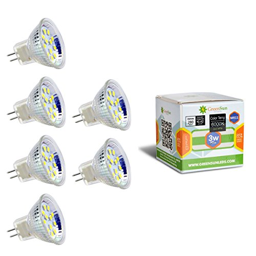 GreenSun LED Lighting 6X AC/DC 12V MR11 GU4 3W 12 * 2835SMD LED Spot Gluehbirne Strahler Lampe Leuchte Kaltweiß