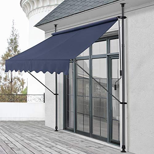 pro.tec Klemmmarkise 200 x 120 x 200-300cm Markise Balkonmarkise Sonnenschutz ohne Bohren Dunkelblau