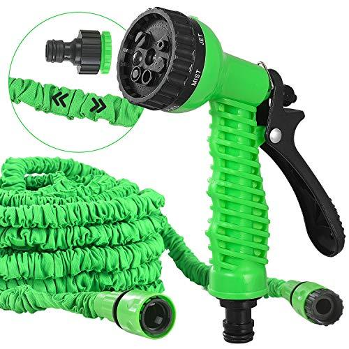 Juskys Flexibler Gartenschlauch Aqua mit Handbrause | 30 m | Adapter 1/2 Zoll & 3/4 Zoll | grün | Wasserschlauch Flexischlauch dehnbar knickfest