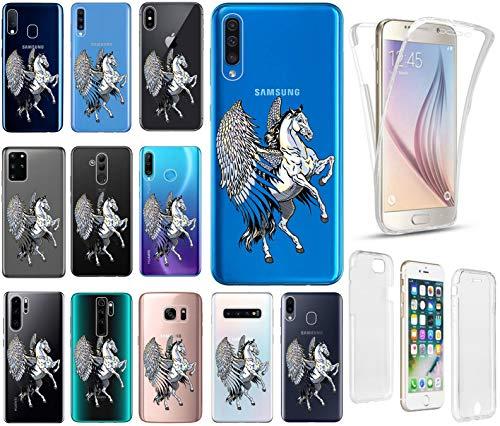 KX-Mobile Hülle für Samsung A51 Handyhülle Motiv 2328 Pegasus Pferd mit Flügeln Premium 360 Grad Fullbody durchsichtig mit Bild SchutzHülle Softcase HandyCover Handyhülle für Samsung Galaxy A51 Hülle