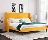 Allewie King Size Platform Bed Frame with Deluxe Wingback/Upholstered Bed Frame with Headboard/Wood Slat Support/Mattress Foundation/Light Yellow(King)