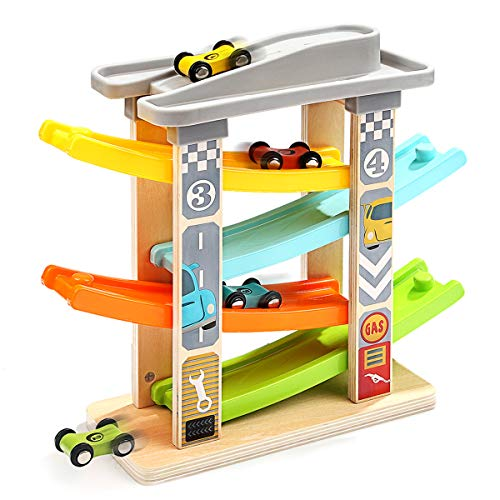 TOP BRIGHT Wooden Ramp Race Track with 4 Mini Cars Race Tracks Ramp Toys for...