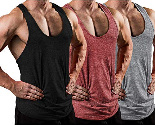 LecGee Mens 3 Pack Gym Tank Tops Y-Back Workout Muscle Tee Sleeveless Fitness Bodybuilding T Shirts