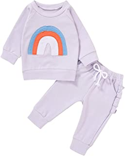JEELLIGULAR Infant Baby Girls Outfits Rainbow Print Long Sleeve Pullover T-Shirt Tops + Ruffle Pant 2Pcs Fall Clothes Set
