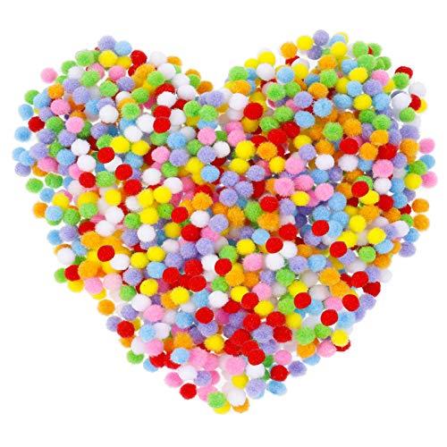 metagio Pompons zum Basteln, 1000 Stück Mini Pom Poms, 8mm Pom Poms für Handwerk Herstellung, Pompons Bälle für Kinder, Bunte Pompons für DIY Kreativen Handwerk Dekorationen