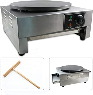 Commercial Single Electric Crepe Maker Pancake Baker Machine Built-in Thermostat+Wooden Spatula 110V 3KW+ Wooden Spatula