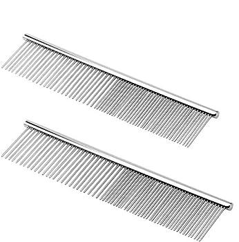 NATEE 2pcs Peigne pour Animaux de Compagnie en Acier Inoxydable 19 * 4cm Chiens à Poils Longs Barber Outils de Toilettage