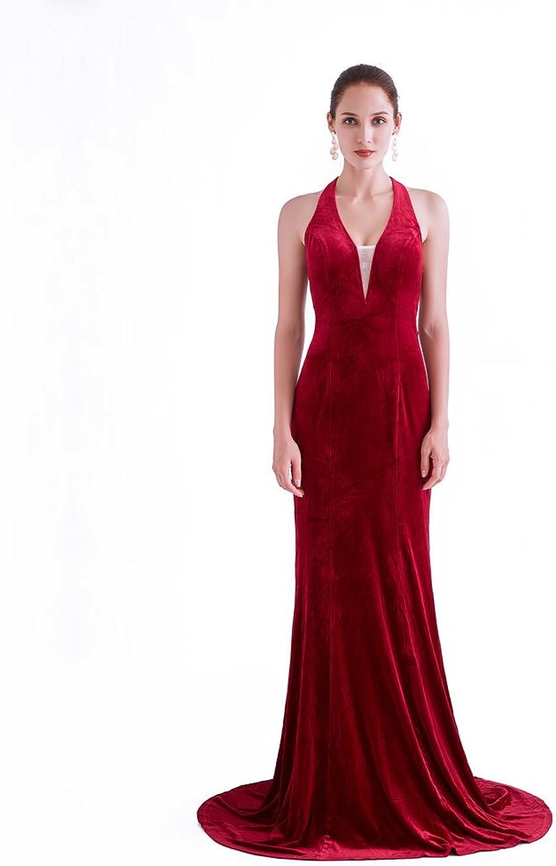 CG Chris Gelinas France CG Women's Halter Neck Sleeveless Velvet Stretchy Evening Dresses Wedding Mermaid Maxi Gown J0762
