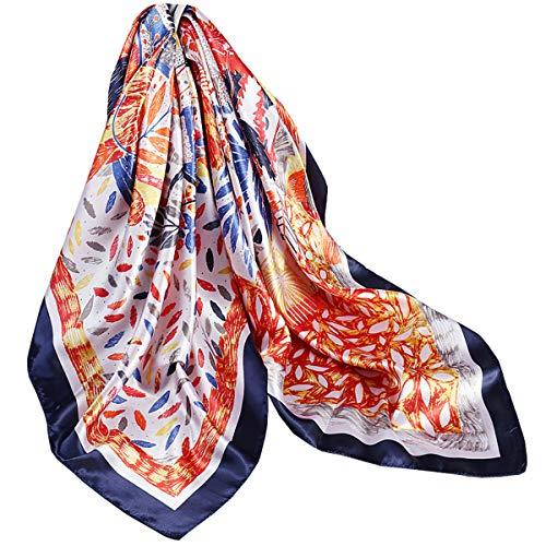 Ecroon Bufanda Cuadrada Seda Fulares Pañuelos para la cabeza Bufandas Pañuelo de Cuadrado para Mujer Turbante