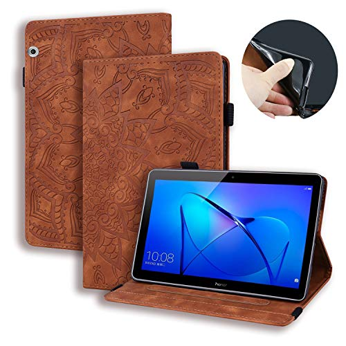 Lspcase Huawei Mediapad T5 10 Hülle PU Leather und Soft Silicone TPU Cover Stand Function Flip Wallet Hülle Card Slots Pen Holder Tablet Hülle for Huawei Mediapad T5 10 10.1 Inch - Brown Mandala Flower