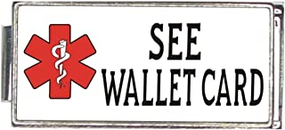 See Wallet Card White Medical Alert Italian Charm Superlink Bracelet Jewelry Link