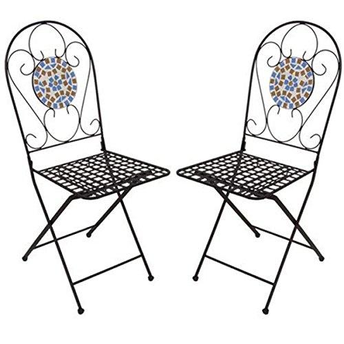 BURI Mosaikstühle 2er-Set Venedig Gartenstühle Metallstühle Mosaikstuhl Stühle Neu