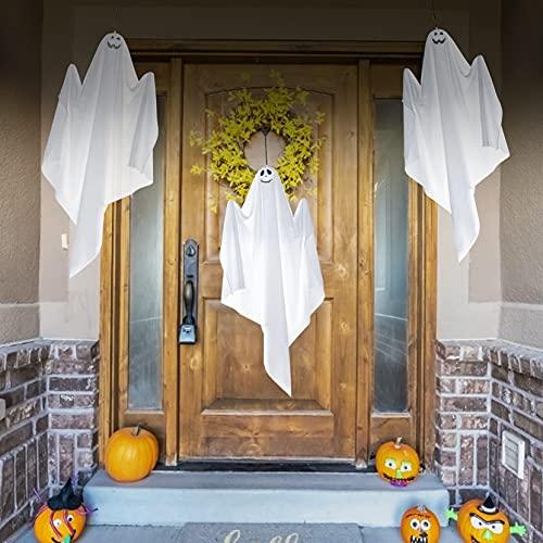 Decoración de Halloween para exteriores con fantasma, para colgar en el patio, jardín, fiesta, porche, patio, decoración de patio, paquete de 3