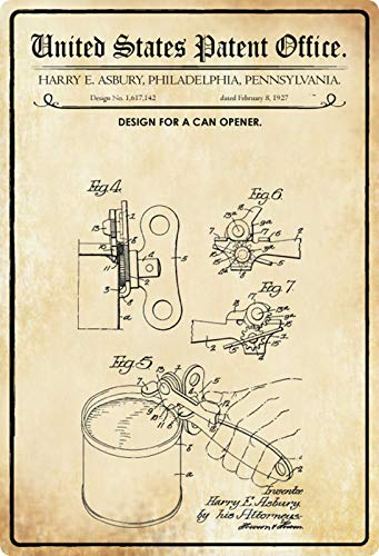 Blechschild 20x30cm gewölbt Patent Entwurf für einen Dosenöffner 1927 Deko Geschenk Schild