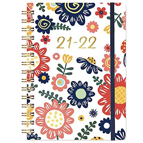 Diario 2021-2022, A5 Semanal para ver el diario de julio de 2021 a junio de 2022, 2021-2022 Diario de tapa dura con bolsillo interior, encuadernación de alambre doble, 21,5 x 15,5 cm