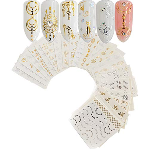 Nail Sticker, 30 Metal Art Flower Stickers Butterfly Lace Dream Catcher Feather Tack Decoration, Gold and Silver