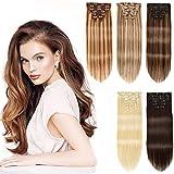 Hair Extensions Clip in Human Hair 16 inch 120g 7pcs clip in hair extensions human hair Straight 100% Human Hair Extensions Clip ins (#4/27)