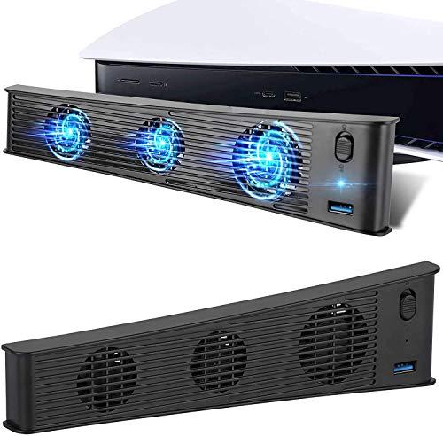Ventilador de refrigeración PS5 Refrigerador USB Externo Consola de Juegos Ventilador de refrigeración con Puerto USB3.0 Adicional para Sony Playstation 5 Edición Digital/Consola Ultra HD