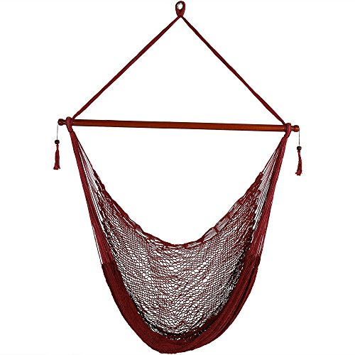 Sunnydaze Hanging Rope Hammock Chair Swing - Cabo Style Extra Large Hanging Chair with Spreader Bar for Backyard & Patio - 360-Pound Capacity - Red