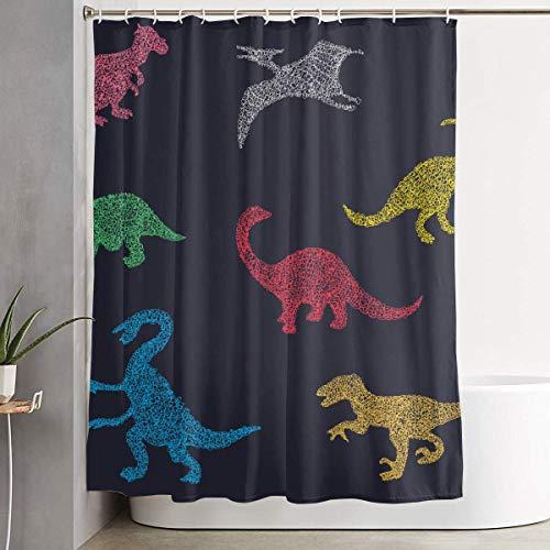 N\A Dinosaurier Wild Zoo Krieg Duschvorhang Set Wohnkultur Wasserdicht Waschbare Polyester Stoff Badzubehör mit Haken