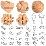 31 Pieces Brain Teaser Metal and Wooden Puzzle Set, Unlock Interlock Intelligence Game Brain Handheld Disentanglement Game 3D Wire Chain and Durable Wood Educational IQ Logic Test Wooden Toy for Adult