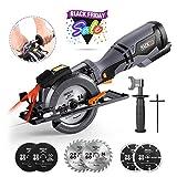 TACKLIFE Scie Circulaire, Équiper la Poignée en Métal, Guide de Laser, 6 Lames (120mm & 115mm), 710W 3500RPM, Capacité de...
