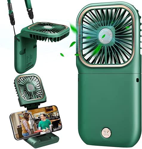 Handventilator Tragbarer Kleiner Ventilator Batterie 5000mAh Energienbank Funktion & USB 180°Faltbarer Desktop Fan Mini USB Ventilator Persönlicher Lüfter Büro/Heim/Outdoor/Camping/Kinderwagen (Grün)