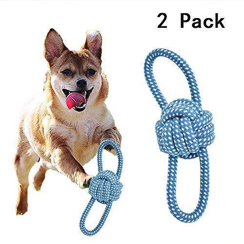 CHARLLEAN 2pcs Hundespielzeug Seil, Wurfspielzeug Hundeball Hergestellt aus Baumwollstrick, Wurfball mit Zwei Schlaufen Hundespielzeug zur Zahnreinigung - für kleine und mittlere Hunde